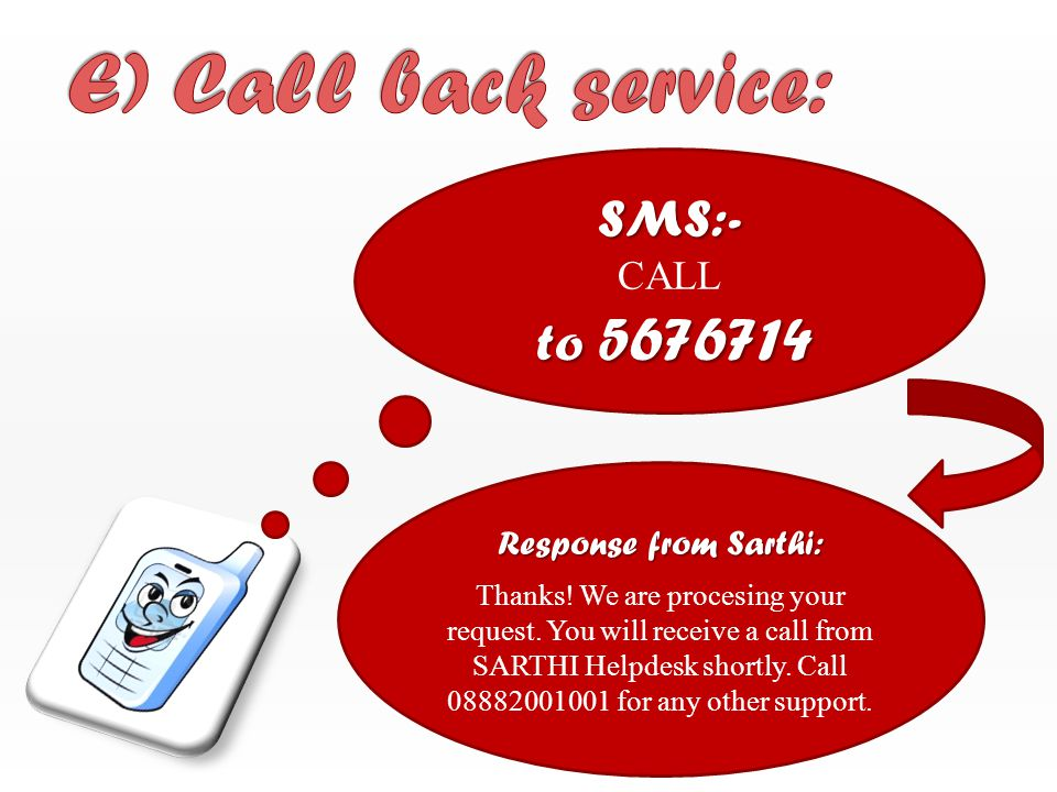 SMS:- to 5676714 CALL to 5676714 Response from Sarthi: Thanks.