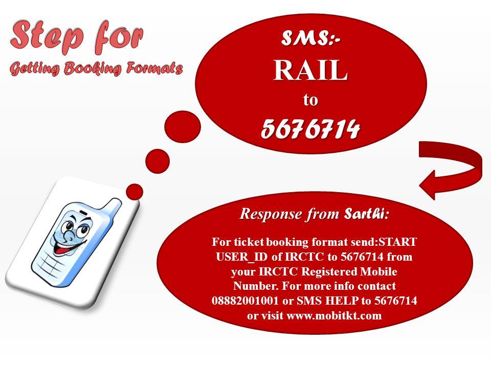 SMS:- to 5676714 PNR 5612345567 to 5676714 Response from Sarthi: Ticket booking details are PNR: 5612345567, TRAIN: 12418, DOJ: 28/03/2013 NDLS to ALD, VARUN, EZAZ, PRIYANKA, SUKHBIR Confirm S6 0035,0036,0037,0038 PNR Number