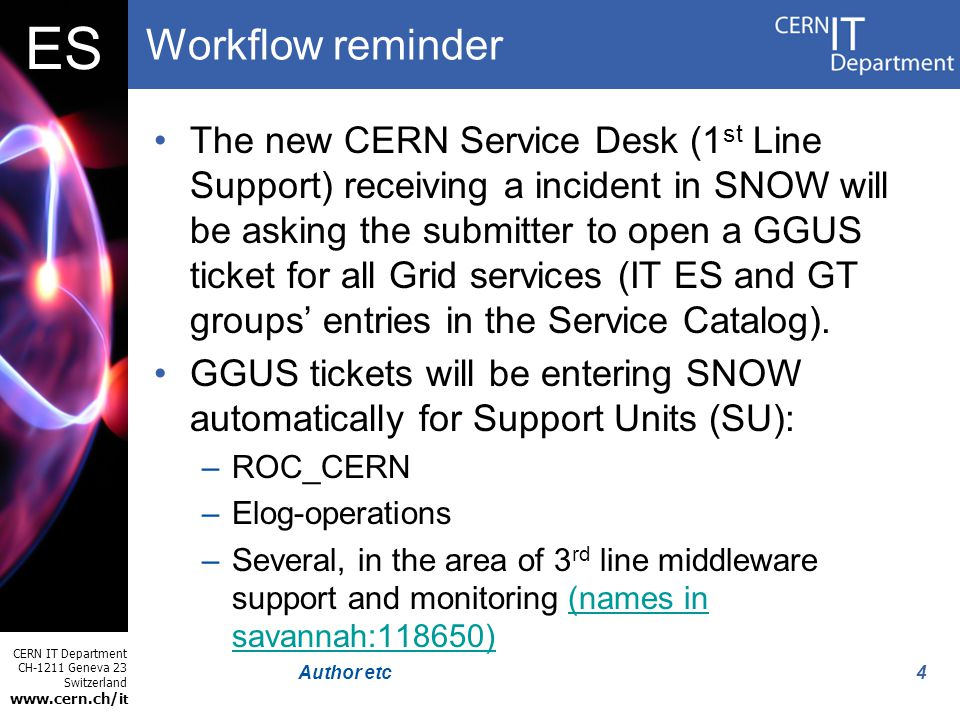 CERN IT Department CH-1211 Geneva 23 Switzerland www.cern.ch/i t ES 4Author etc Workflow reminder The new CERN Service Desk (1 st Line Support) receiv
