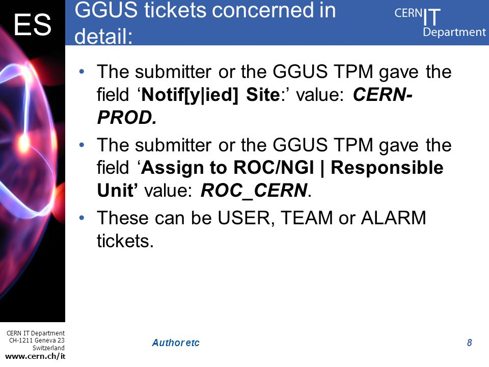 CERN IT Department CH-1211 Geneva 23 Switzerland www.cern.ch/i t ES 8Author etc GGUS tickets concerned in detail: The submitter or the GGUS TPM gave t
