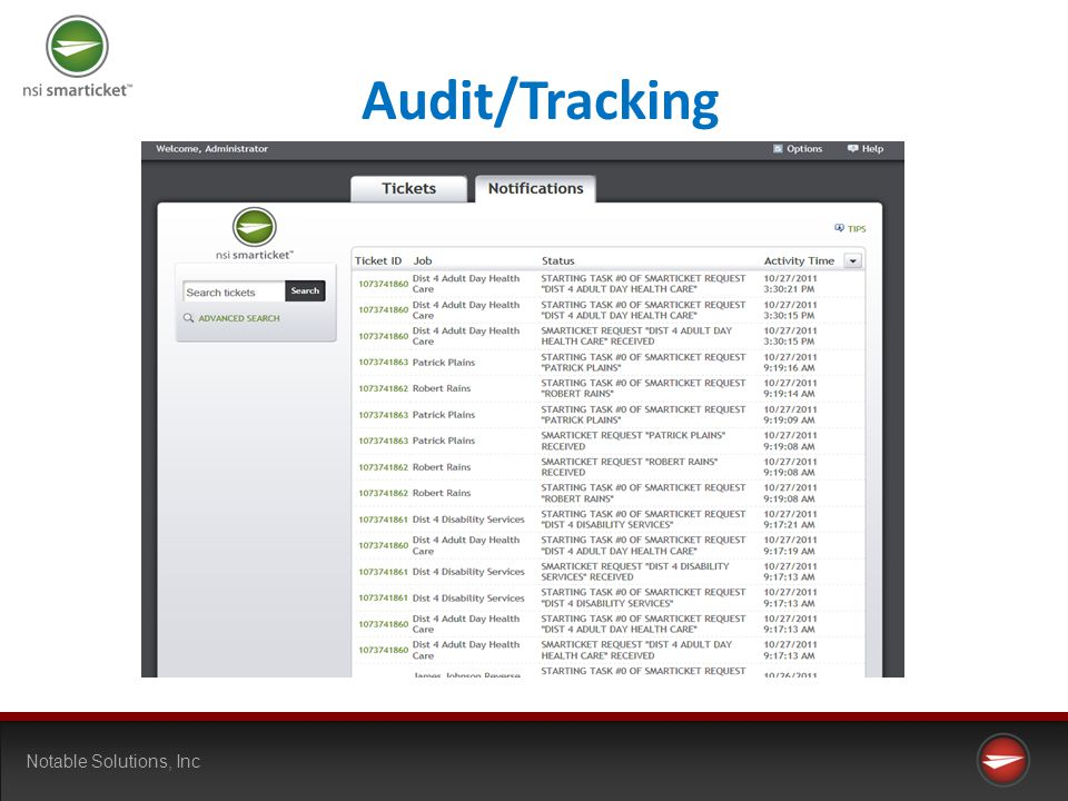 Notable Solutions, Inc Audit/Tracking
