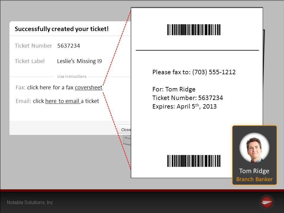 Notable Solutions, Inc Successfully created your ticket.
