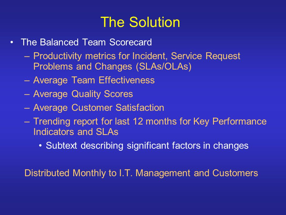 The Solution The Balanced Team Scorecard –Productivity metrics for Incident, Service Request Problems and Changes (SLAs/OLAs) –Average Team Effectiveness –Average Quality Scores –Average Customer Satisfaction –Trending report for last 12 months for Key Performance Indicators and SLAs Subtext describing significant factors in changes Distributed Monthly to I.T.