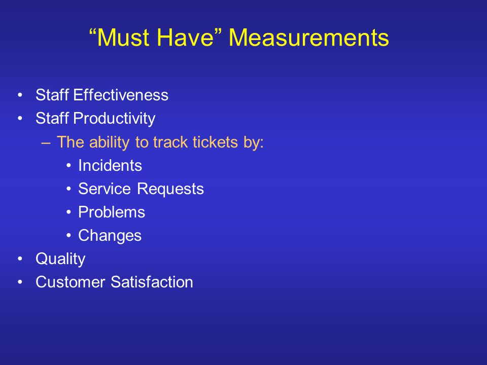 Must Have Measurements Staff Effectiveness Staff Productivity –The ability to track tickets by: Incidents Service Requests Problems Changes Quality Customer Satisfaction