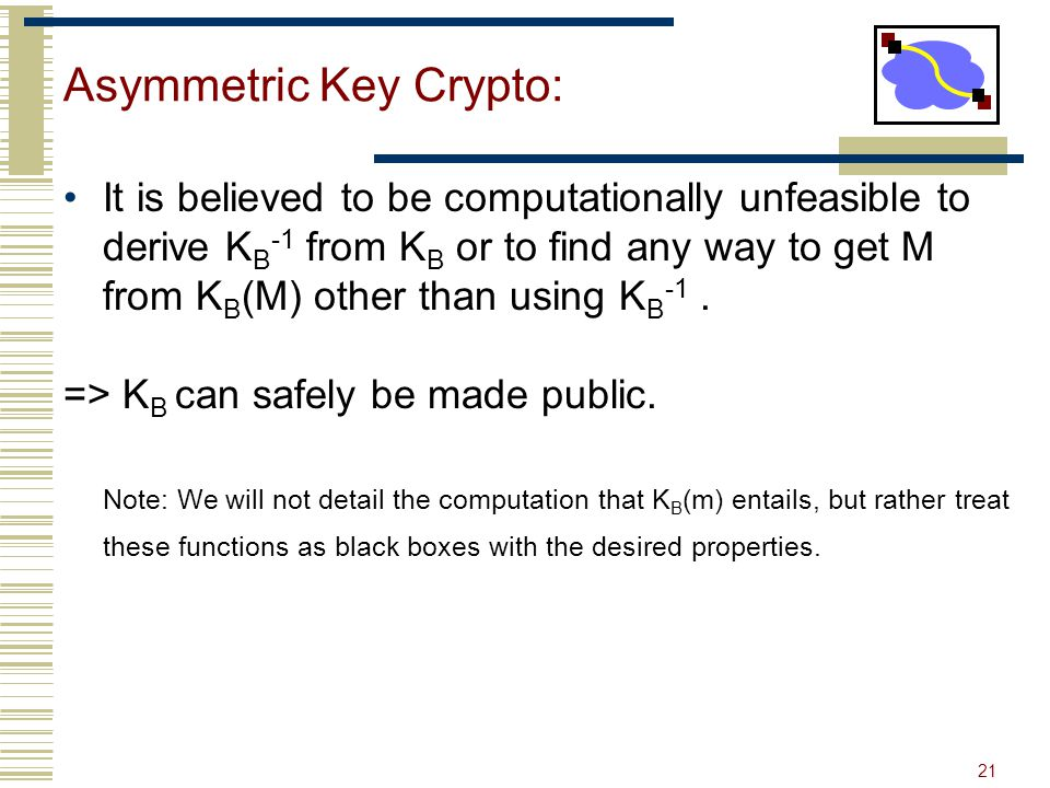 21 Asymmetric Key Crypto: It is believed to be computationally unfeasible to derive K B -1 from K B or to find any way to get M from K B (M) other tha