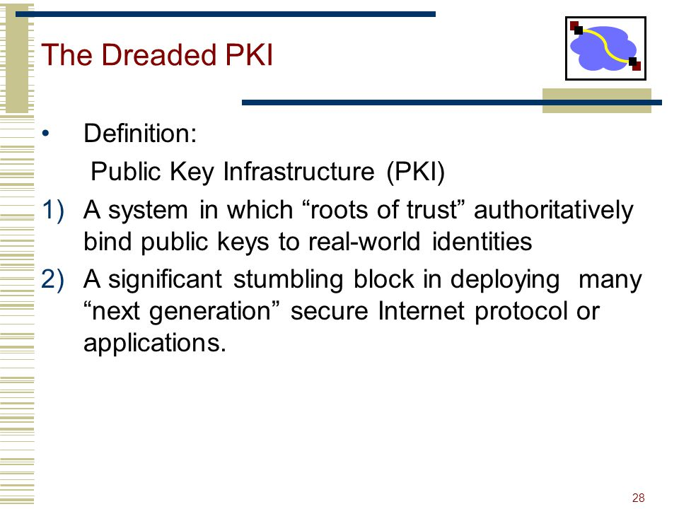 28 The Dreaded PKI Definition: Public Key Infrastructure (PKI) 1)A system in which roots of trust authoritatively bind public keys to real-world ident