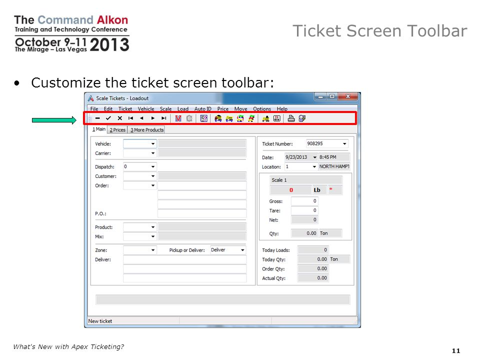 Ticket Screen Toolbar Customize the ticket screen toolbar: What s New with Apex Ticketing? 11