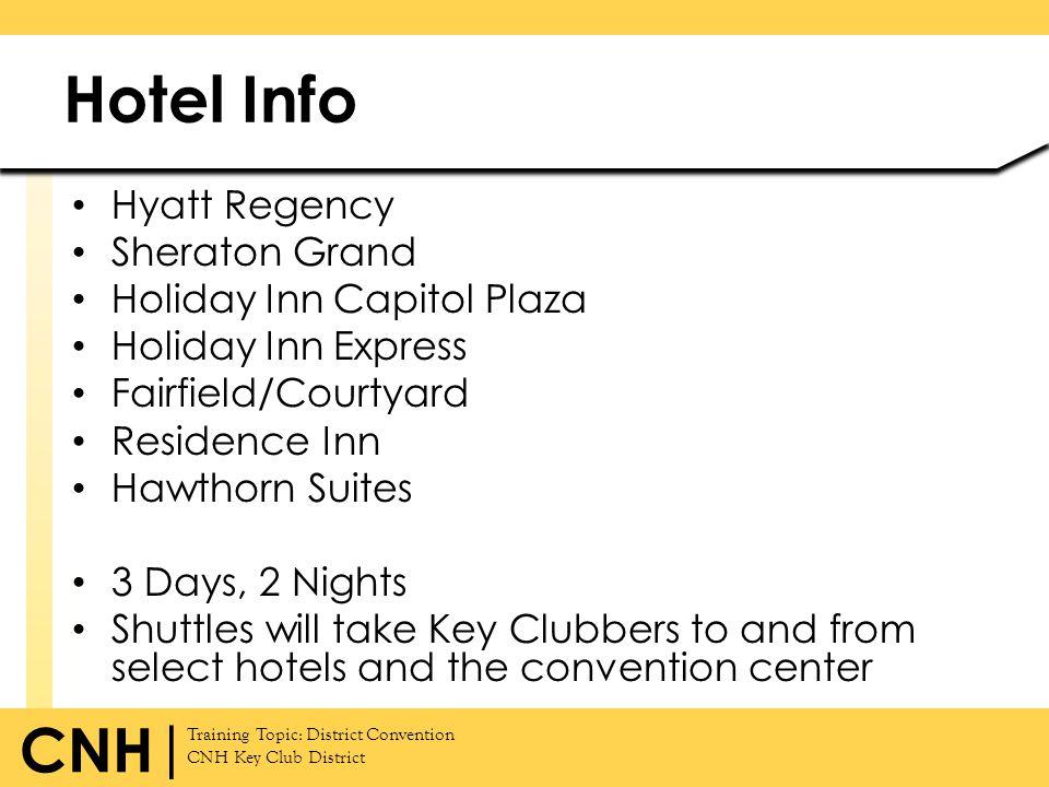 Training Topic: District Convention CNH Key Club District CNH | Hotel Info Hyatt Regency Sheraton Grand Holiday Inn Capitol Plaza Holiday Inn Express