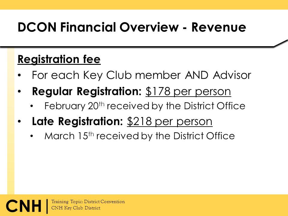 Training Topic: District Convention CNH Key Club District CNH | Registration fee For each Key Club member AND Advisor Regular Registration: $178 per p