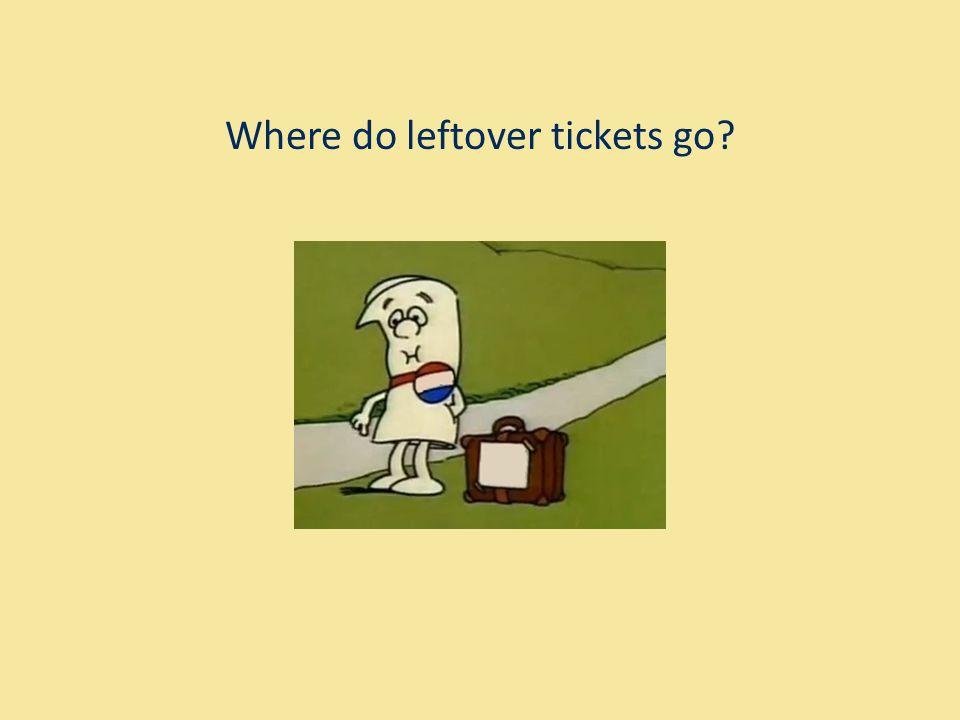 Where do leftover tickets go