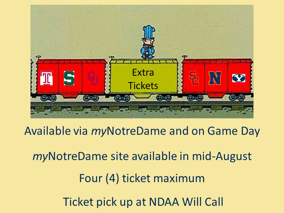 Extra Tickets Available via myNotreDame and on Game Day myNotreDame site available in mid-August Four (4) ticket maximum Ticket pick up at NDAA Will Call