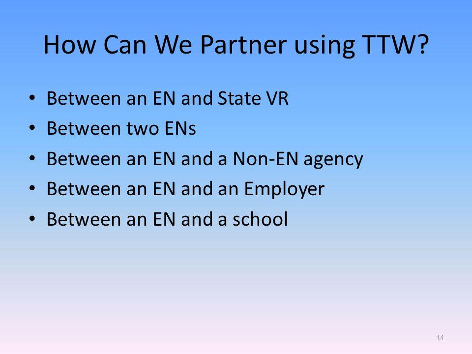 How Can We Partner using TTW.