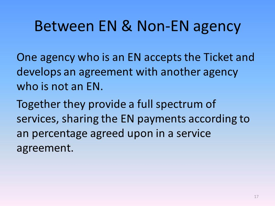 Between EN & Non-EN agency One agency who is an EN accepts the Ticket and develops an agreement with another agency who is not an EN.