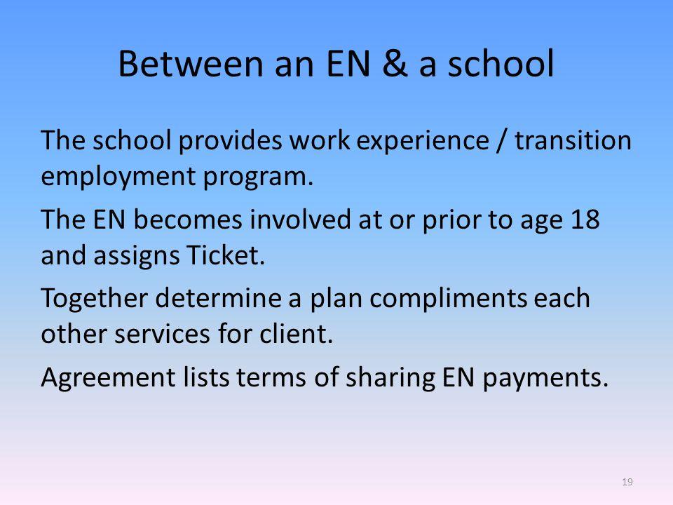 Between an EN & a school The school provides work experience / transition employment program.