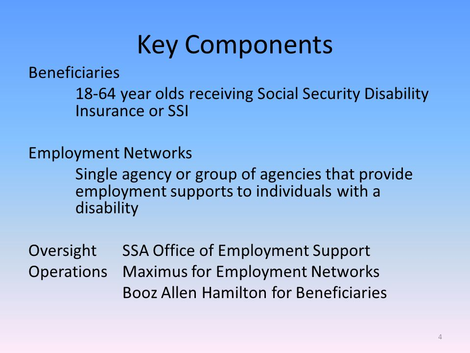 Key Components Beneficiaries 18-64 year olds receiving Social Security Disability Insurance or SSI Employment Networks Single agency or group of agencies that provide employment supports to individuals with a disability Oversight SSA Office of Employment Support OperationsMaximus for Employment Networks Booz Allen Hamilton for Beneficiaries 4