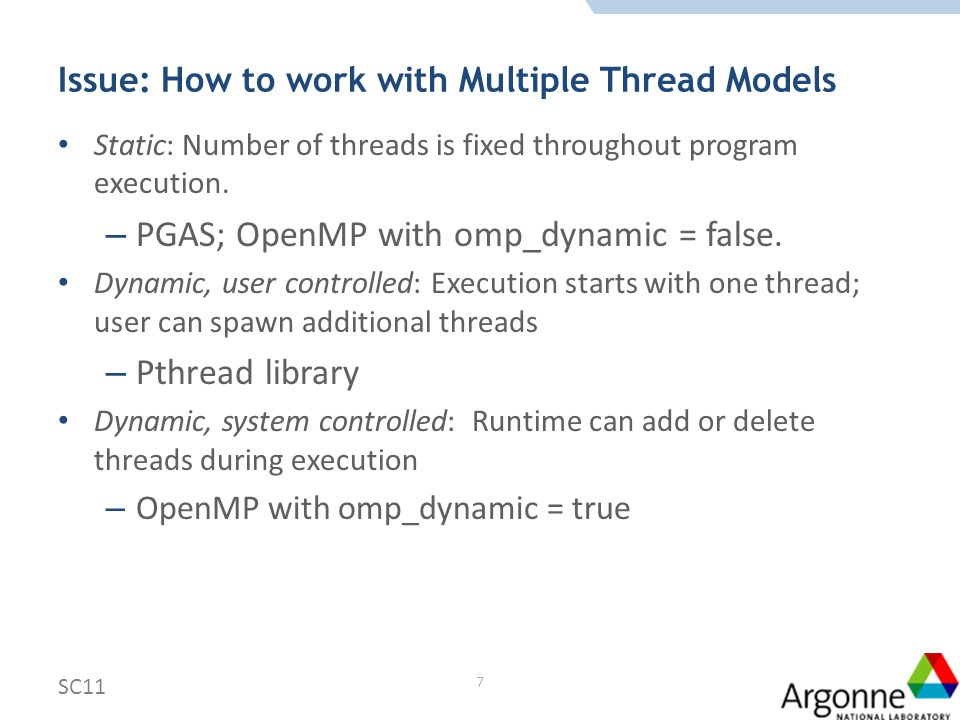 Approach Allow multiple MPI processes within one address space Static, or dynamic, system controlled models: threads associated with MPI processes by system [ticket 310] Dynamic, user controlled model: threads are associated with MPI processes by user [ticket 311] One initialization/finalization per address space is sufficient – Essential for dynamic, system controlled Multiple initializations/finalizations are correct (but superfluous) – For portability SC11 8