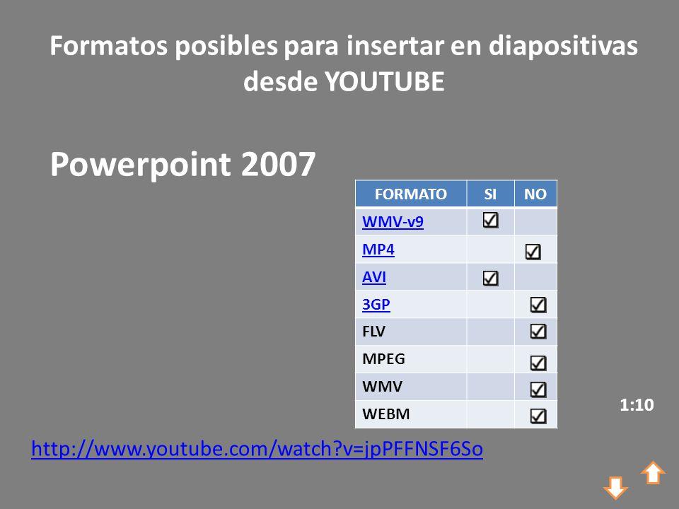 Formatos posibles para insertar en diapositivas desde YOUTUBE http://www.youtube.com/watch?v=jpPFFNSF6So Powerpoint 2007 1:10 FORMATOSINO WMV-v9 MP4 AVI 3GP FLV MPEG WMV WEBM