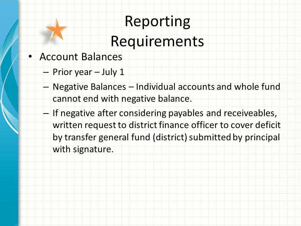 Reporting Requirements Account Balances – Prior year – July 1 – Negative Balances – Individual accounts and whole fund cannot end with negative balance.