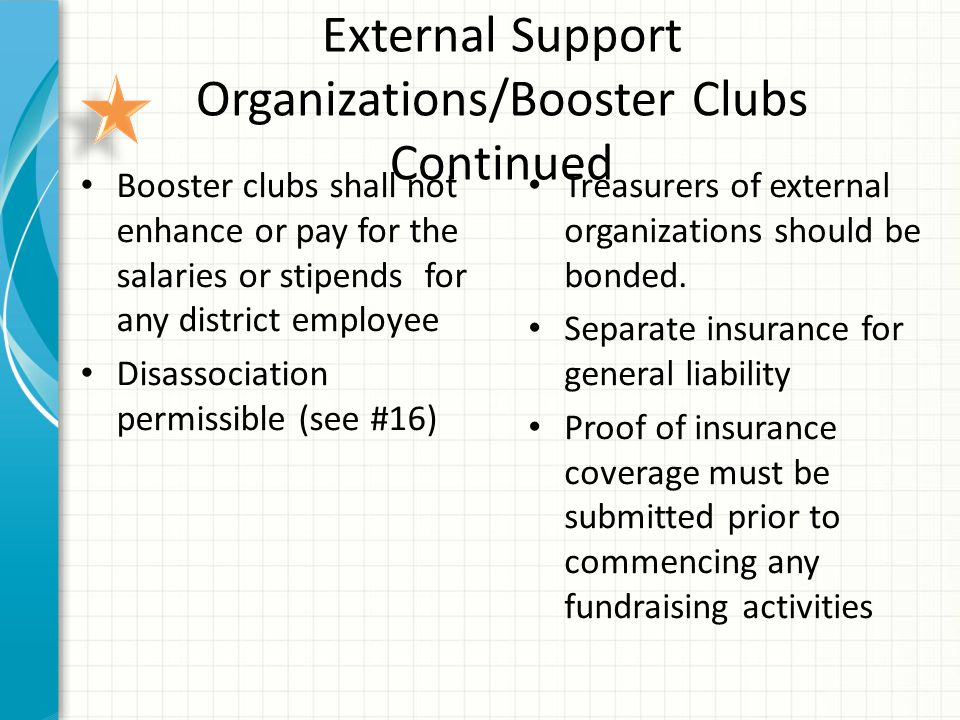 External Support Organizations/Booster Clubs Continued Booster clubs shall not enhance or pay for the salaries or stipends for any district employee Disassociation permissible (see #16) Treasurers of external organizations should be bonded.