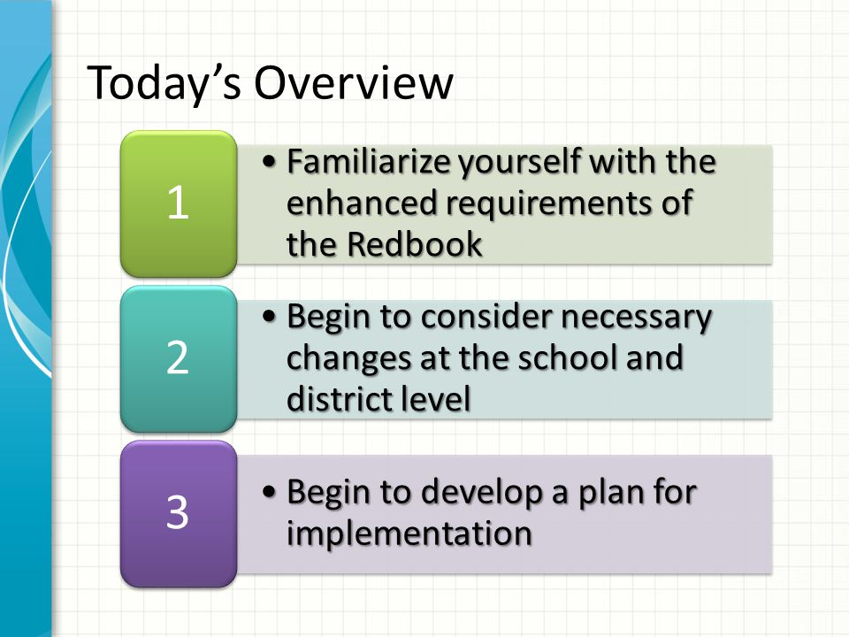 Familiarize yourself with the enhanced requirements of the RedbookFamiliarize yourself with the enhanced requirements of the Redbook 1 Begin to consider necessary changes at the school and district levelBegin to consider necessary changes at the school and district level 2 Begin to develop a plan for implementationBegin to develop a plan for implementation 3 Todays Overview
