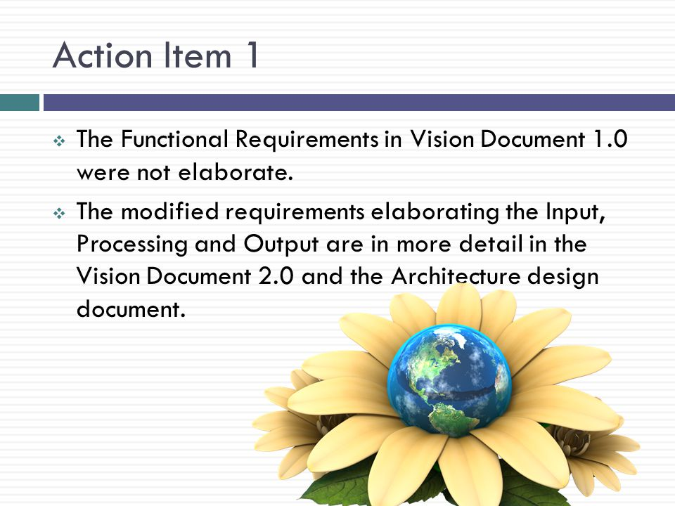 Action Item 1 The Functional Requirements in Vision Document 1.0 were not elaborate.