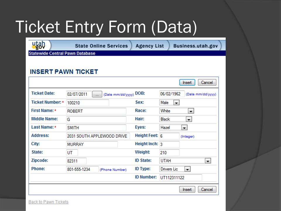 Ticket Entry Form (Data)