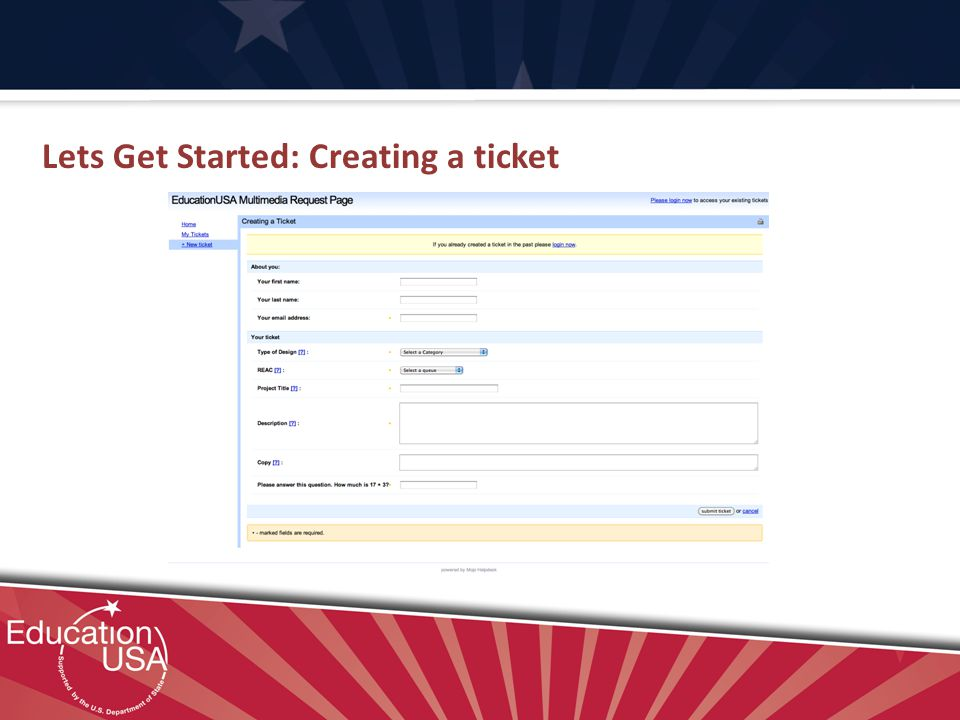 Lets Get Started: Creating a ticket