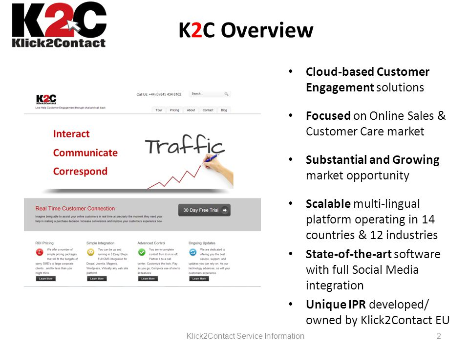 K2C Overview Cloud-based Customer Engagement solutions Focused on Online Sales & Customer Care market Substantial and Growing market opportunity Scalable multi-lingual platform operating in 14 countries & 12 industries State-of-the-art software with full Social Media integration Unique IPR developed/ owned by Klick2Contact EU Klick2Contact Service Information2
