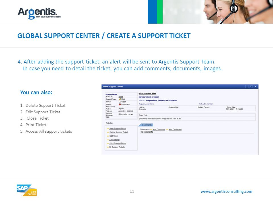 www.argentisconsulting.com GLOBAL SUPPORT CENTER / CREATE A SUPPORT TICKET 11 4.