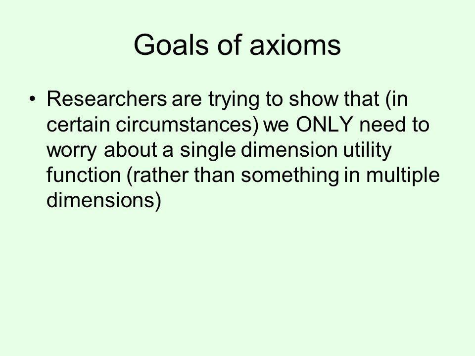 Goals of axioms Researchers are trying to show that (in certain circumstances) we ONLY need to worry about a single dimension utility function (rather than something in multiple dimensions)
