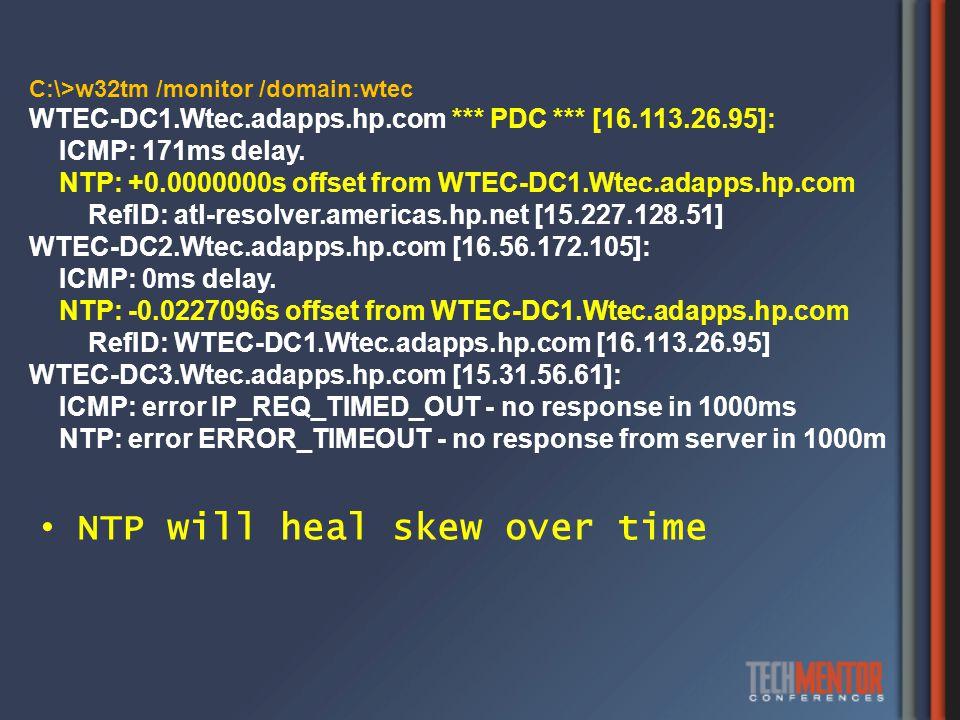 C:\>w32tm /monitor /domain:wtec WTEC-DC1.Wtec.adapps.hp.com *** PDC *** [16.113.26.95]: ICMP: 171ms delay.