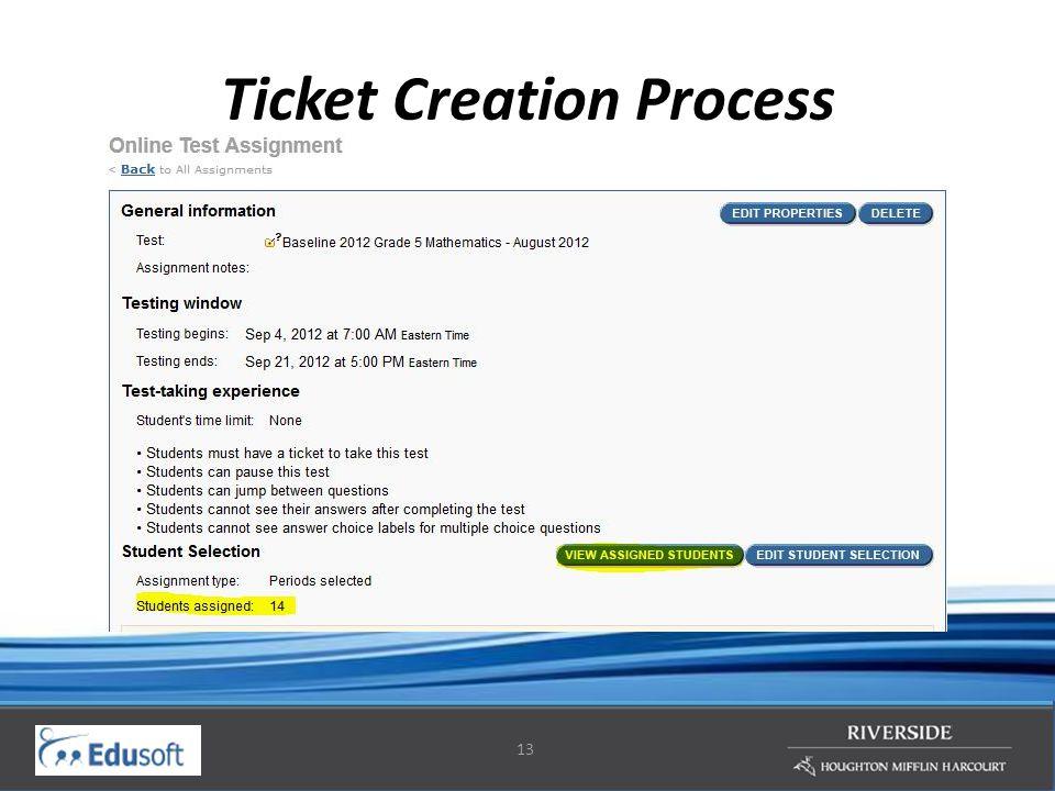 13 Ticket Creation Process