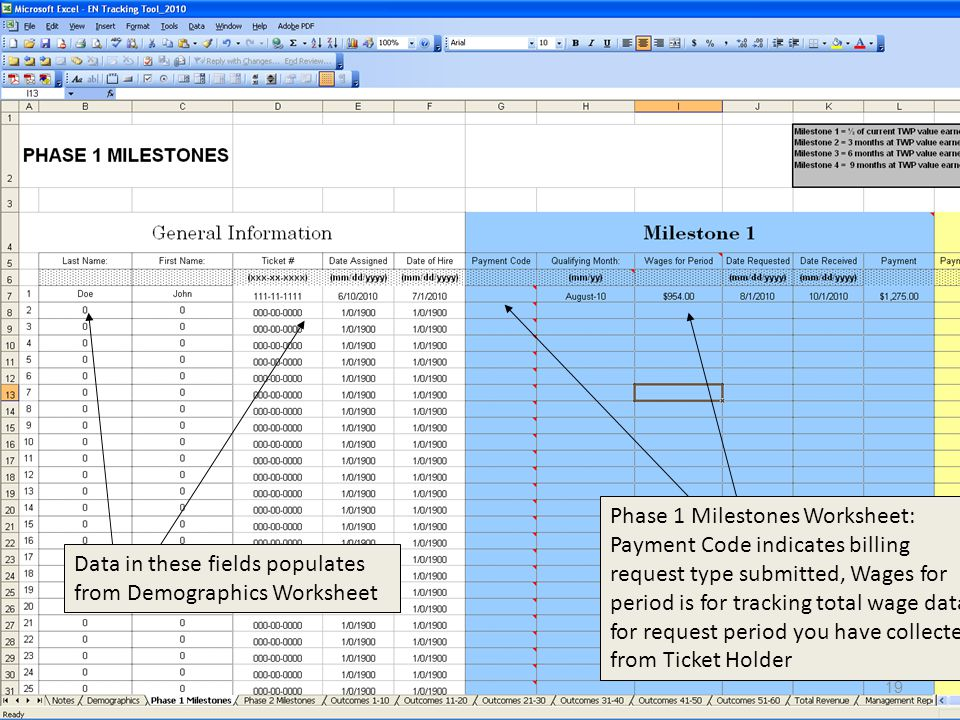19 Data in these fields populates from Demographics Worksheet Phase 1 Milestones Worksheet: Payment Code indicates billing request type submitted, Wages for period is for tracking total wage data for request period you have collected from Ticket Holder