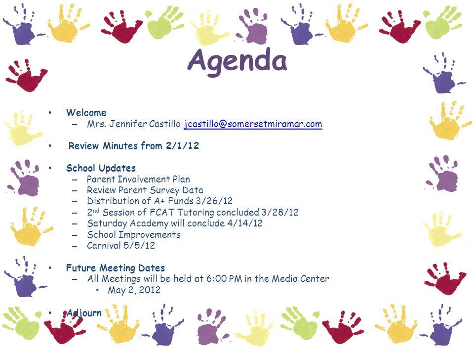 Parent Involvement Plan & Parent Survey Data Ms. Calvacca will review