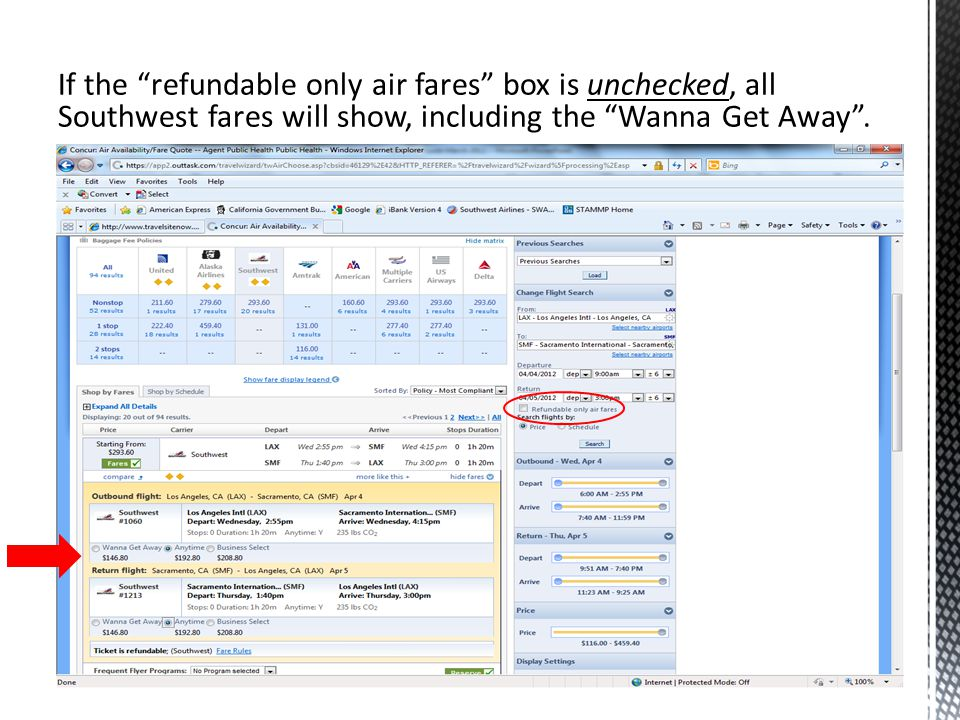 If the refundable only air fares box is unchecked, all Southwest fares will show, including the Wanna Get Away.