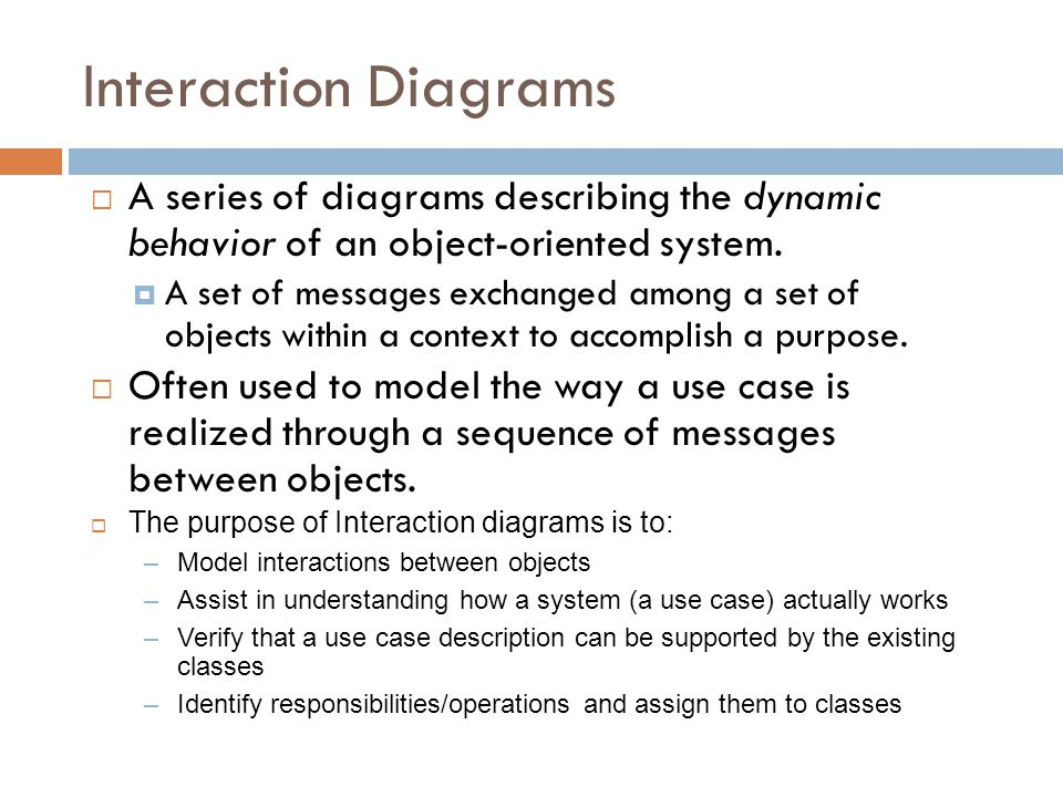 Interaction Diagrams A series of diagrams describing the dynamic behavior of an object-oriented system.