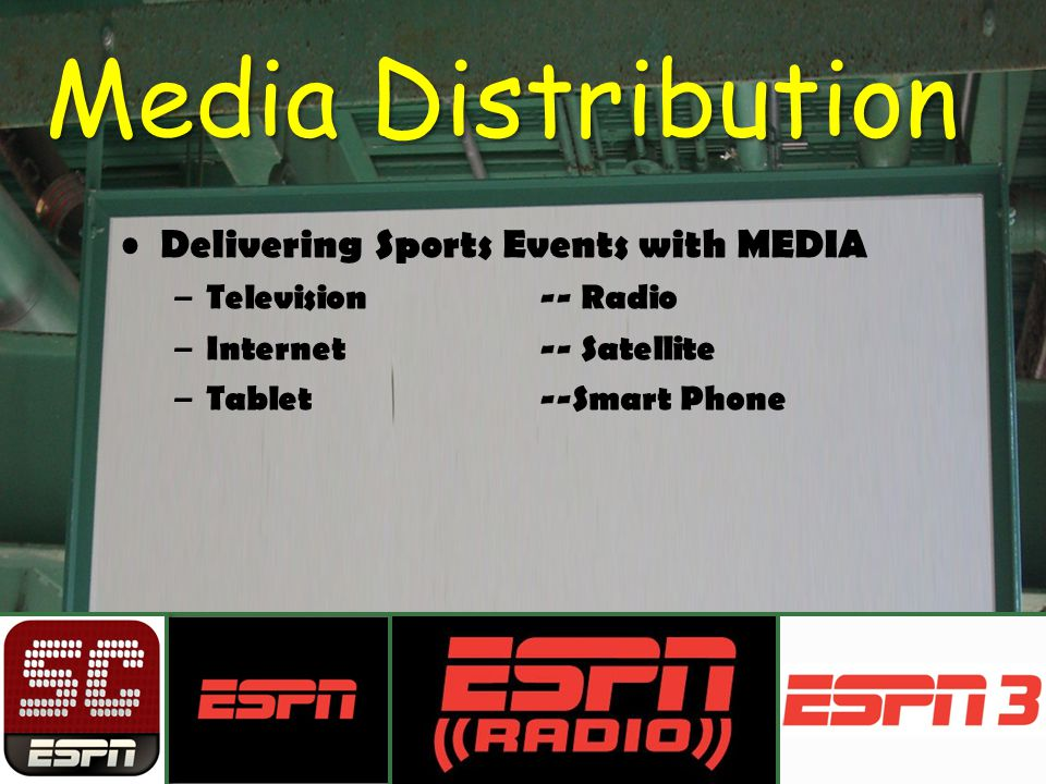 Media Distribution Delivering Sports Events with MEDIA – Television -- Radio – Internet-- Satellite – Tablet--Smart Phone