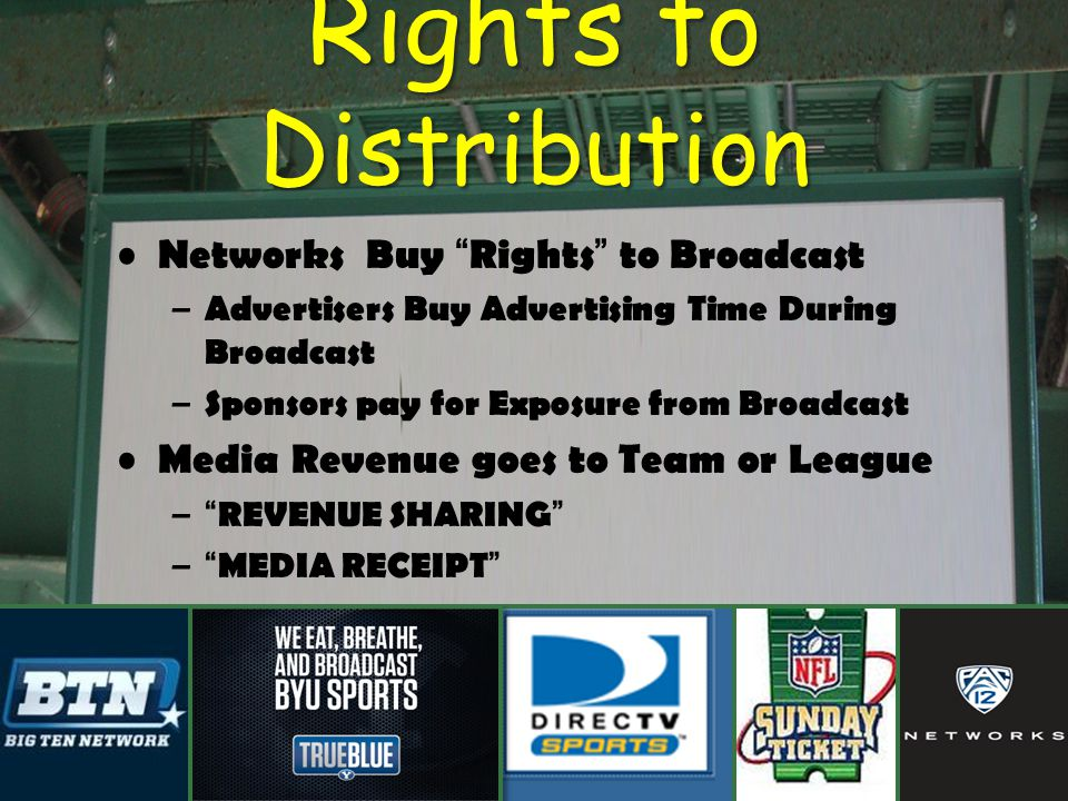 Rights to Distribution Networks Buy Rights to Broadcast – Advertisers Buy Advertising Time During Broadcast – Sponsors pay for Exposure from Broadcast Media Revenue goes to Team or League –REVENUE SHARING –MEDIA RECEIPT
