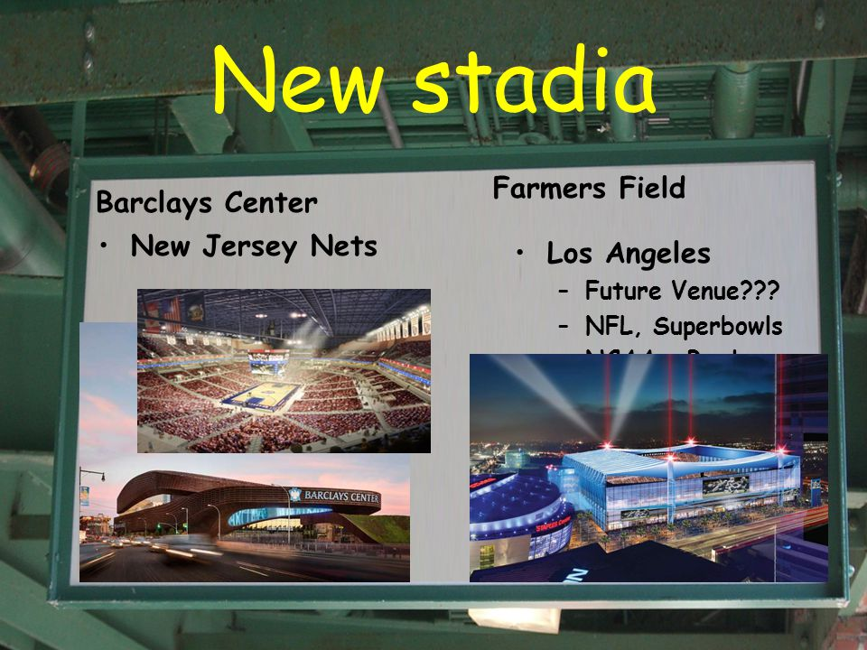 New stadia Barclays Center New Jersey Nets Farmers Field Los Angeles –Future Venue??.