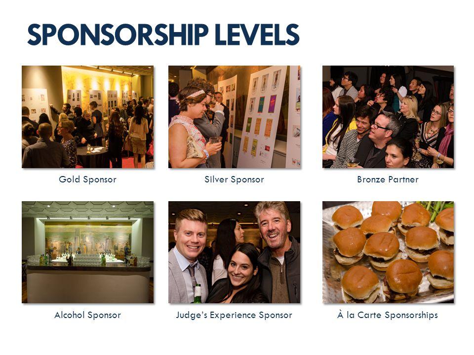 SPONSORSHIP LEVELS Gold SponsorSilver Sponsor Judges Experience SponsorAlcohol Sponsor Bronze Partner À la Carte Sponsorships