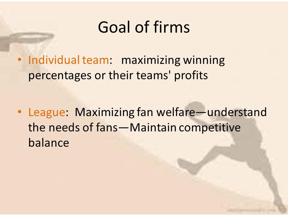 Goal of firms Individual team: maximizing winning percentages or their teams profits League: Maximizing fan welfareunderstand the needs of fansMaintain competitive balance