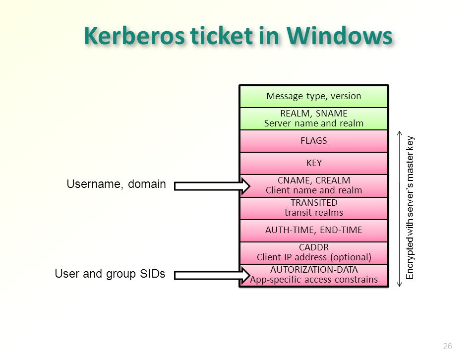 Message type, version 26 Kerberos ticket in Windows REALM, SNAME Server name and realm FLAGS KEY CNAME, CREALM Client name and realm TRANSITED transit realms AUTH-TIME, END-TIME CADDR Client IP address (optional) AUTORIZATION-DATA App-specific access constrains Encrypted with servers master key Username, domain User and group SIDs