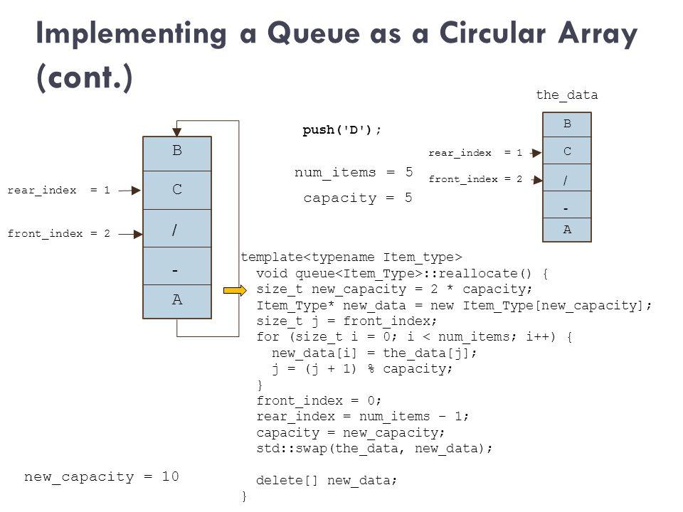 Implementing a Queue as a Circular Array (cont.) num_items = 5 push('D'); capacity = 5 B + / - front_index = 2 A rear_index = 1 C B + / - front_index