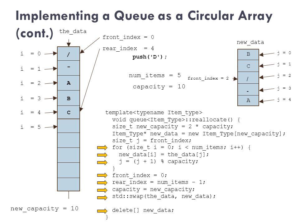 capacity = 5 B + / A C new_capacity = 10 j = 2 i = 0 / / j = 3 i = 1 the_data push('D'); num_items = 5 new_data template void queue ::reallocate() { s