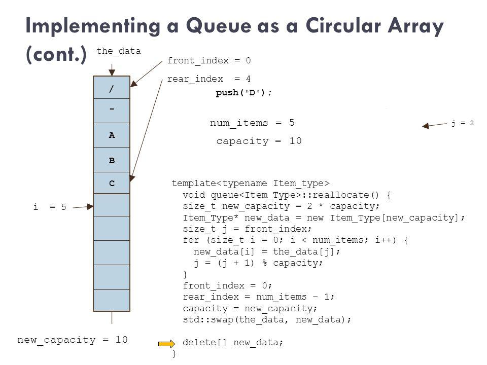 capacity = 5 new_capacity = 10 j = 2 / push('D'); num_items = 5 new_data template void queue ::reallocate() { size_t new_capacity = 2 * capacity; Item
