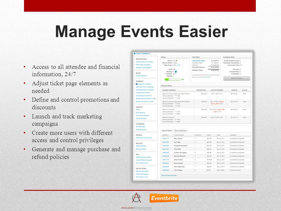 Manage Events Easier Access to all attendee and financial information, 24/7 Adjust ticket page elements as needed Define and control promotions and di