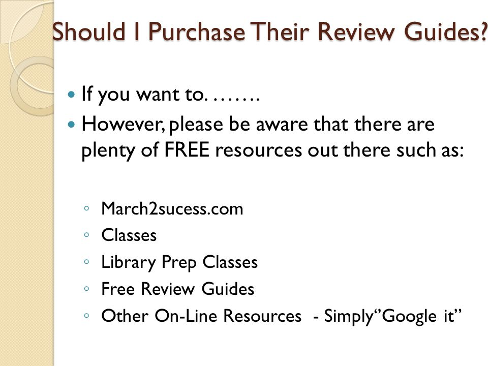 Should I Purchase Their Review Guides? If you want to. ……. However, please be aware that there are plenty of FREE resources out there such as: March2s