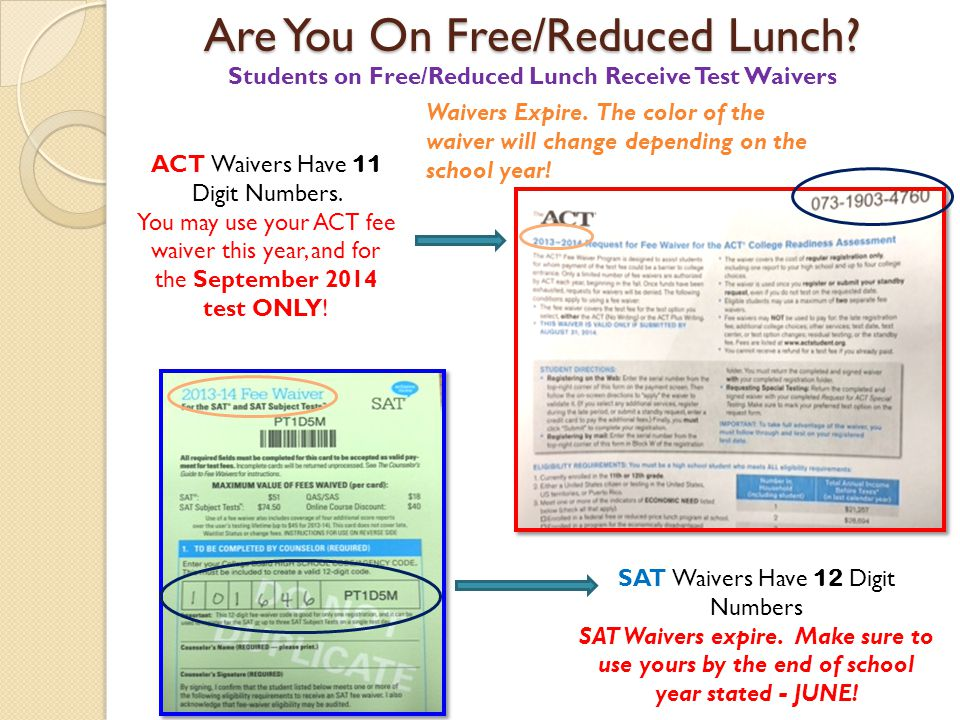 Are You On Free/Reduced Lunch? ACT Waivers Have 11 Digit Numbers. You may use your ACT fee waiver this year, and for the September 2014 test ONLY! Stu