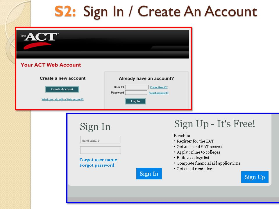 S2: Sign In / Create An Account