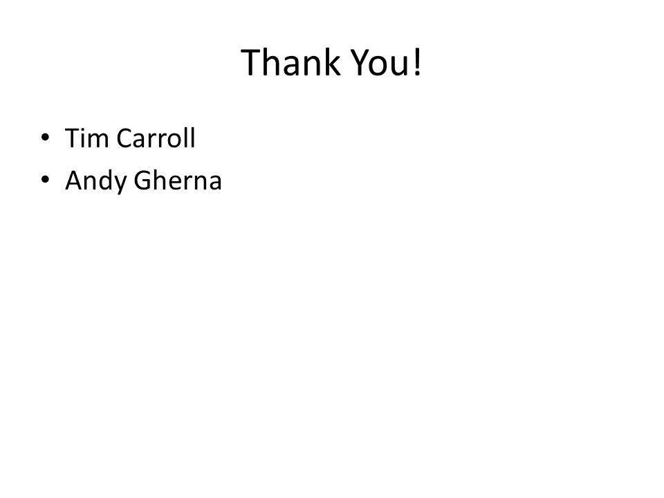 Thank You! Tim Carroll Andy Gherna